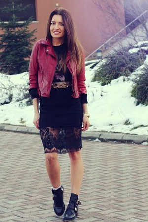 choiescom boots - Romwecom dress - Bershka jacket