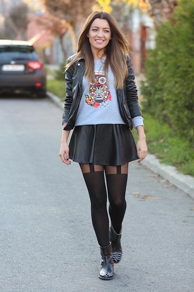 Romwe Skirts Zara Boots Romwecom Hoodies | u0026quot;Cute owlu0026quot; by SandraBendre | Chictopia