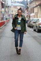 Sheinsidecom coat - Jeffrey Campbell boots - chicnova jeans - chicnova blouse