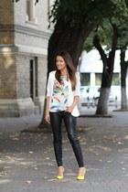 Topshop blazer - PERSUNMALL top - Martofchina heels - Zara pants