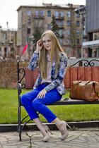cotton reserved blazer - cotton H&M shirt - cognac leather vintage bag