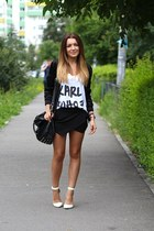pieces bag - Zara shorts - tshirt-factoryro top - Stradivarius heels