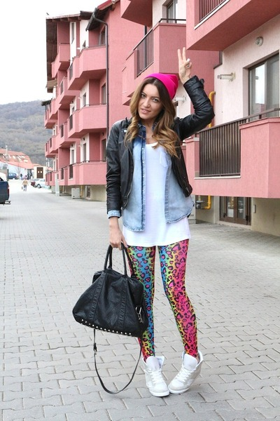 Bershka jacket - Sheinside leggings - pull&bear shirt - pieces bag