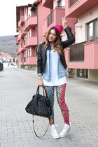 Bershka jacket - Sheinside leggings - pull&bear shirt - pieces bag