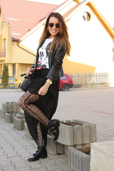 Zara skirt - Stradivarius boots - Bershka jacket