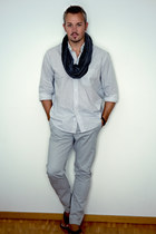 NavyBoot scarf - Yves Gerard blouse - Zara sandals - H&M pants