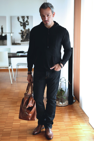 brown H&M bag - brown testino shoes - dark gray Zara sweater