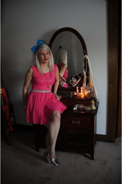pink vintage dress - silver vintage shoes - blue vintage accessories