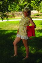 yellow vintage dress - silver shoes - pink vintage purse - silver vintage belt -