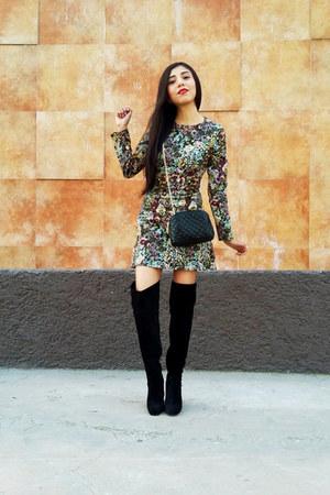 Zara boots - Zara dress - Zara bag