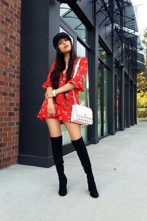Zara boots - Zara dress - Topshop hat - Guess bag