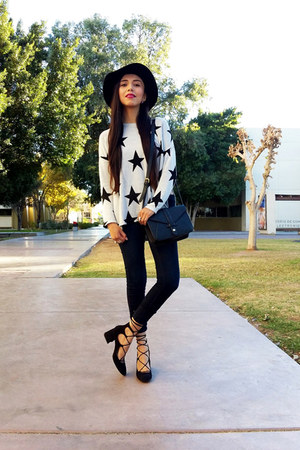 H&M hat - Forever 21 jeans - H&M sweater - Zara heels