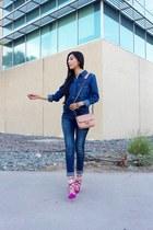 Zara blouse - Stradivarius jeans - Mango bag - Zara heels