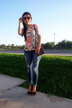 Sheinside blouse - LOB jeans - Forever 21 bag - LOB sunglasses