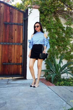 shein blouse - Zara shoes - Zara bag - Zara skirt