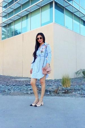 Zara shoes - shein dress - Mango bag