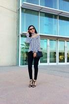shein blouse - Jessica Simpson jeans - Zara bag - Vogue sunglasses - Zara heels