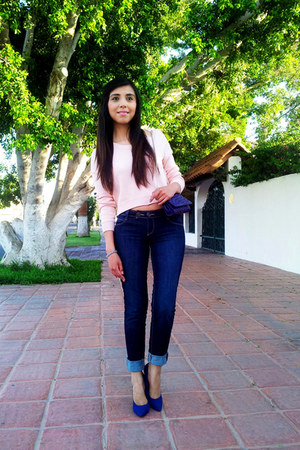 light pink Forever 21 sweater - navy sxy jns jeans - blue LOB pumps