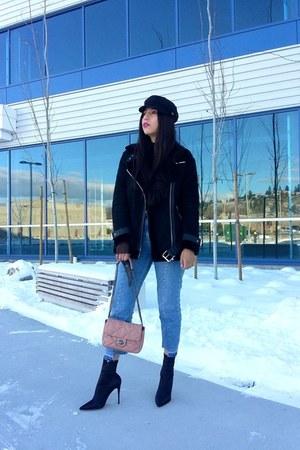 Topshop jacket - Aldo boots - Topshop jeans - Steve Madden hat