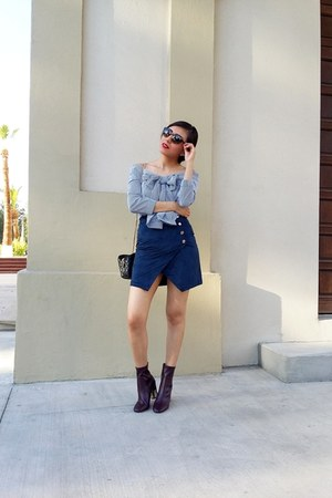 Zara boots - Vogue eye wear sunglasses - shein blouse - LOB skirt
