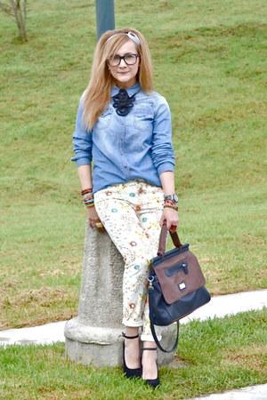 Stradivarius bag - pull&bear jeans - pull&bear shirt