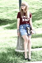 pull&bear shirt - pull&bear bag - vintage skirt
