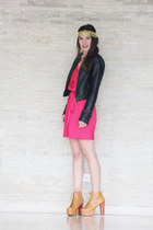black Zara jacket - burnt orange Jeffrey Campbell shoes - hot pink melao dress