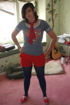 red Forever 21 shoes - sky blue kohls shirt - blue Target tights