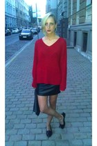 ruby red Cubus jumper - black Bik Bok skirt - black new look loafers