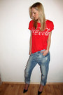 Light-blue-zara-jeans-red-gina-tricot-t-shirt-black-zara-heels