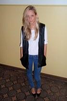 black vintage vest - blue H&M jeans - white lindex shirt - black Zara heels