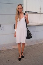 periwinkle COS dress - black Primark wedges - silver lindex bracelet