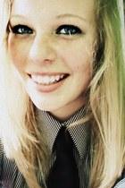 black tie - ivory blouse - black blouse