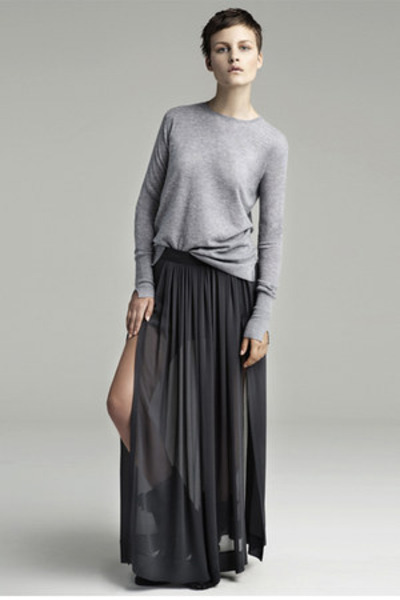 heather gray Zara sweater - dark gray Zara skirt