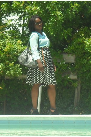 polka dots shirt - Kathy van Zeeland bag - sunglasses - blouse - belt - heels