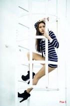black boots - striped dress