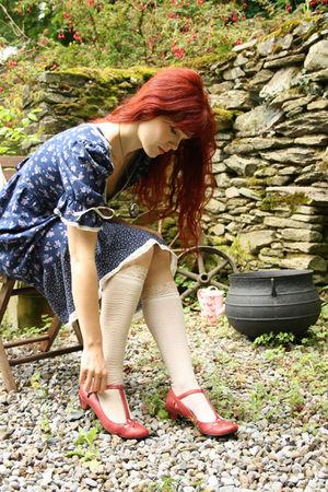 new look shoes - vintage dress - Pennies coat - River Island socks