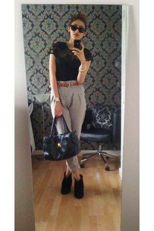 beige Topshop pants - black Steve Madden boots - black vintage top - black Ray B