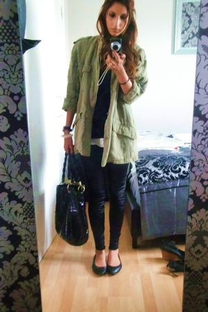 green Urban Outfitters jacket - black French Connection purse