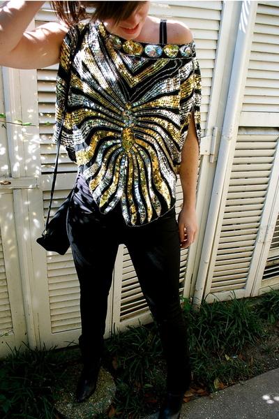 vintage top - H&M pants - Via Spiga shoes - vintage purse