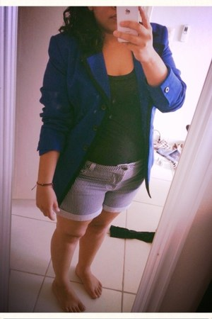 blue blazer - black H&M shirt - white Forever 21 shorts
