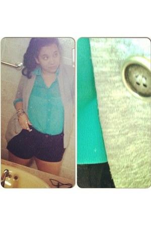 silver Zara blazer - turquoise blue Shasa shirt - black jeans Forever 21 shorts