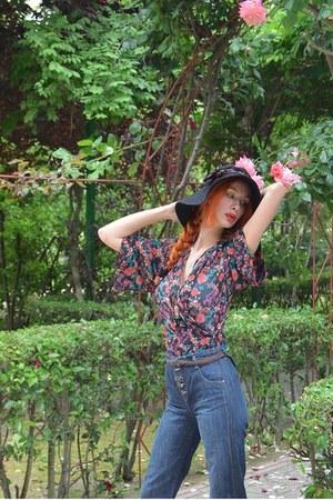vintage hat - BLANCO pants - kimono BLANCO blouse