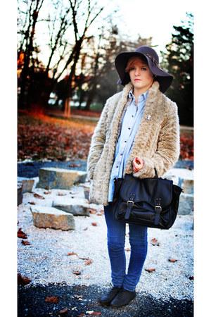 H&M bag - Zara jeans - vintage shirt - H&M hat