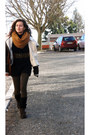 Black-stradivarius-dress-brown-stradivarius-coat-bronze-stradivarius-scarf