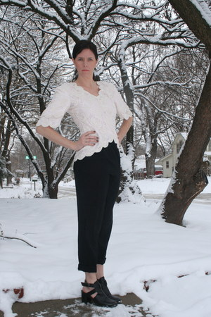 beaded vintage shirt - black thrifted pants - black thrifted clogs
