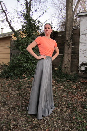 peach thrifted shirt - silver thrifted skirt