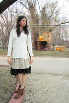 brown Born Concept boots - cream thrifted sweater - beige thrifted skirt - black