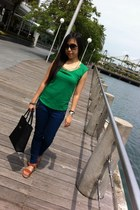 green random top - blue Zara jeans - light brown random from Bangkok wedges