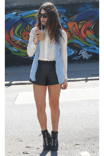 romwe shorts - Stradivarius shirt - Zara blouse